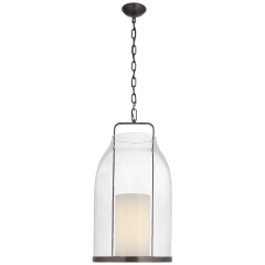 Ollie Large Lantern in Bronze with Clear Glass