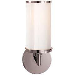 Cylinder Sconce in Polished Nickel with White Glass