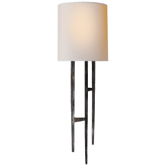 Vail Sconce in Aged Iron with Natural Paper Shade