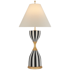 Tilly Large Table Lamp in Black Stripe with Linen Shade