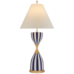 Tilly Large Table Lamp in Denim Stripe with Linen Shade