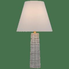 Gates Medium Column Table Lamp in Malt White Dust with Linen Shade