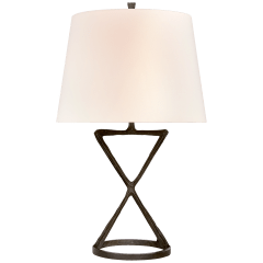 Anneu Table Lamp in Aged Iron with Linen Shade