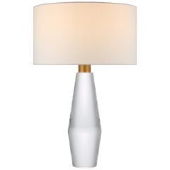 Tendmond Large Table Lamp in Clear Glass with Linen Shade