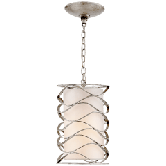 Bracelet Small Lantern in Burnished Silver Leaf with Linen Shade