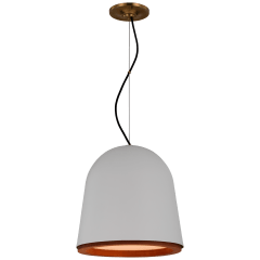 Murphy Small Pendant in Plaster White and Dark Teak