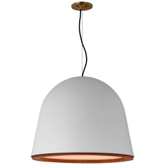 Murphy Large Pendant in Plaster White and Dark Teak
