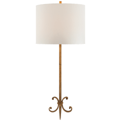 Roswell Sconce in Gilded Iron with Linen Shade