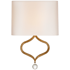 Heart Sconce in Gilded Iron with Natural Percale Shade