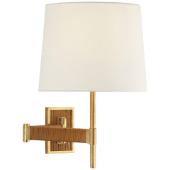 Elle Swing Arm Sconce in Hand-Rubbed Antique Brass and Dark Rattan with Linen Shade