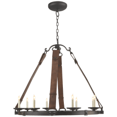 Dressage Round Chandelier In Aged Iron with Leather