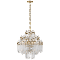 Adele Four Tier Waterfall Chandelier in Hand-Rubbed Antique Brass with Clear Acrylic