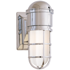Marine Wall Light in Chrome with White Glass