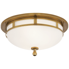 Openwork Small Flush Mount in Hand-Rubbed Antique Brass with Frosted Glass