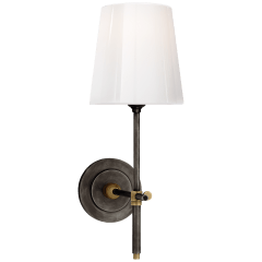 Bryant Sconce in Bronze and Hand-Rubbed Antique Brass with White Glass