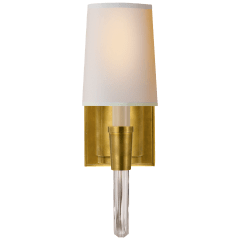 Vivian Single Sconce in Hand-Rubbed Antique Brass with Natural Paper Shade
