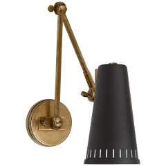 Antonio Adjustable Two Arm Wall Lamp in Hand-Rubbed Antique Brass with Matte Black Shade