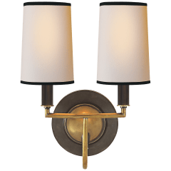 Elkins Double Sconce in Bronze and Hand-Rubbed Antique Brass with Natural Paper Shades with Black Tape