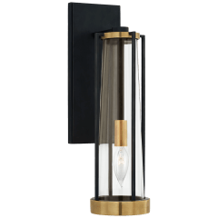 Calix Bracketed Sconce in Bronze and Brass with Clear Glass