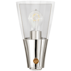 Altare Wide Sconce in Polished Nickel and Hand-Rubbed Antique Brass with Clear Glass