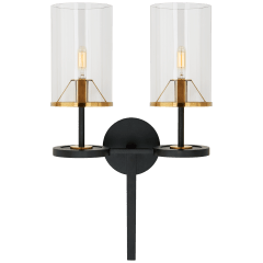 Vivier Double Sconce in Blackened Iron and Hand-Rubbed Antique Brass with Cylinder Clear Glass