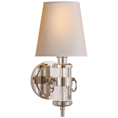 Jonathan Sconce in Crystal with Natural Paper Shade