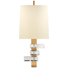 Moreau Large Sconce in Hand-Rubbed Antique Brass and Crystal with Natural Percale Shade
