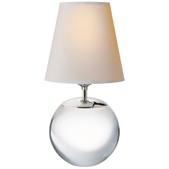 Terri Large Round Table Lamp in Crystal with Natural Paper Shade