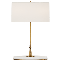Casper Medium Table Lamp in Hand-Rubbed Antique Brass and Alabaster with Linen Shade