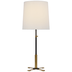 Quintel Large Adjustable Table Lamp in Bronze and Hand-Rubbed Antique Brass with Linen Shade