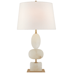 Dani Medium Table Lamp in Alabaster with Linen Shades