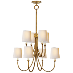 Reed Large Chandelier in Hand-Rubbed Antique Brass with Natural Paper Shades