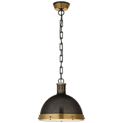 Hicks Large Pendant in Bronze and Hand-Rubbed Antique Brass with Acrylic Diffuser