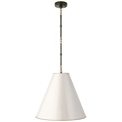 Goodman Medium Hanging Light in Bronze and Hand-Rubbed Antique Brass with Antique White Shade