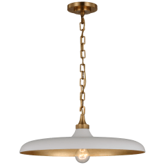 Piatto Medium Pendant in Hand-Rubbed Antique Brass with Plaster White Shade