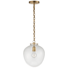 Katie Acorn Pendant in Hand-Rubbed Antique Brass with Clear Glass