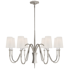 Delphia Medium Chandelier in Polished Nickel with Linen Shade