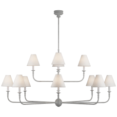 Piaf Grande Two-Tier Chandelier in Swedish Gray with Linen Shades