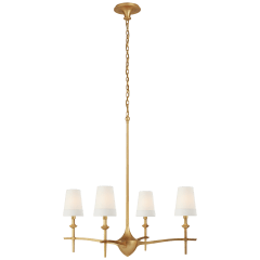Pippa Large Chandelier in Gild with Linen Shades