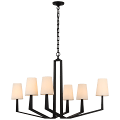 Francesco Large Chandelier in Aged Iron with Linen Shades