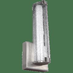 """Cutler 13"""" LED Sconce Satin Nickel Bulbs Inc Clear Crackle Glass"""
