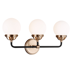 Cafe Three Light Wall / Bath Satin Brass Bulbs Inc