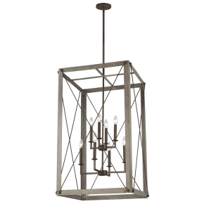 Thornwood Large Eight Light Hall / Foyer Washed Pine Bulbs Inc