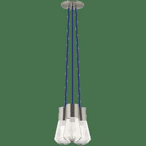 Alva Pendant 3-LITE CHANDELIER Blue satin nickel 2200K 90 CRI led 90 cri 2200k 120v (t24)