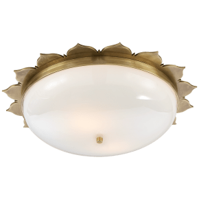 Rachel Large Flush Mount in Natural Brass with White Glass