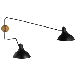 Charlton Large Double Wall Light in Black