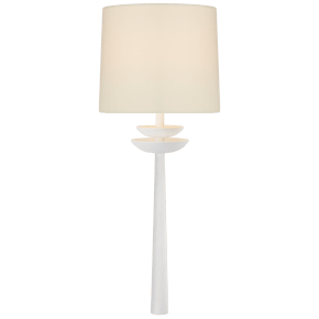 Beaumont Medium Tail Sconce in White with Linen Shade