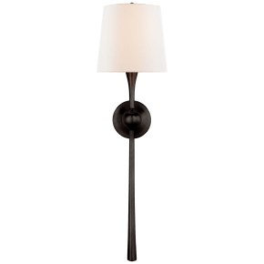 Dover Large Tail Sconce in Aged Iron with Linen Shade