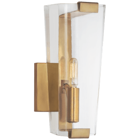 Alpine Small Single Sconce in Hand-Rubbed Antique Brass with Clear Glass