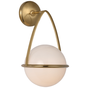 Lisette Bracketed Sconce in Hand-Rubbed Antique Brass with White Glass